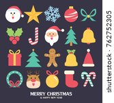 flat christmas icons seamless... | Shutterstock .eps vector #762752305