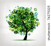 green tree with dollars leaf on ... | Shutterstock .eps vector #76275325