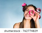 happy young girl going to a... | Shutterstock . vector #762774829