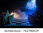 chess board game concept of... | Shutterstock . vector #762780019