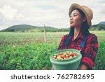 smiling farmer posing in the...   Shutterstock . vector #762782695