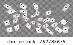playing cards and money falling ... | Shutterstock .eps vector #762783679