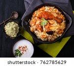 delicious chicken biryani top... | Shutterstock . vector #762785629