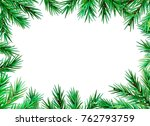 fir branch decorative frame on... | Shutterstock .eps vector #762793759