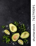 avocado  lime and parsley on... | Shutterstock . vector #762795091