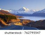 scenic winding road along lake... | Shutterstock . vector #762795547