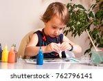 a beautiful little girl... | Shutterstock . vector #762796141