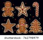 yummy christmas cookies set | Shutterstock .eps vector #762798979
