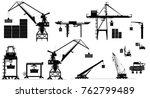harbor cargo cranes set.... | Shutterstock .eps vector #762799489