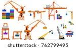 various types of harbor cargo... | Shutterstock .eps vector #762799495