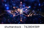 Small photo of Hands touching science and network connection and data exchanges on glitter bright lights colorful background