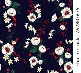 trendy  floral pattern in the... | Shutterstock .eps vector #762807679