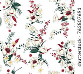 trendy  floral pattern in the... | Shutterstock .eps vector #762807691