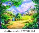 fairy tale  cartoon background  ... | Shutterstock . vector #762809164