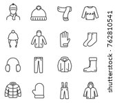 winter clothes icons set.... | Shutterstock .eps vector #762810541