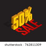 50  percent off  sale  golden... | Shutterstock .eps vector #762811309