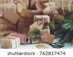 lots of christmas gifts wrapped ...   Shutterstock . vector #762817474