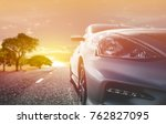 car traveling in nature on an... | Shutterstock . vector #762827095