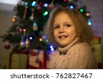 little girl at home in a... | Shutterstock . vector #762827467