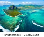 aerial view of mauritius island ... | Shutterstock . vector #762828655