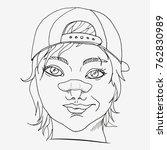 rude girl with broken nose.... | Shutterstock .eps vector #762830989