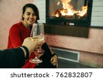 woman with man glass of wine... | Shutterstock . vector #762832807