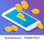 bitcoins drop in smartphone.  | Shutterstock .eps vector #762847927