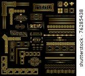gold menu and invitation border ...   Shutterstock .eps vector #76285438