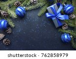 Christmas Gift With Blue Ribbo...