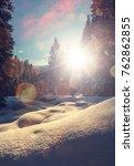 fantastic winter forest... | Shutterstock . vector #762862855
