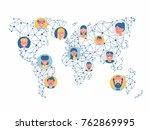 vector wireframe mesh polygonal ... | Shutterstock .eps vector #762869995
