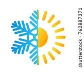 hot sun and frost snowflake... | Shutterstock .eps vector #762887371