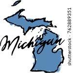 hand drawn michigan state design | Shutterstock .eps vector #762889351
