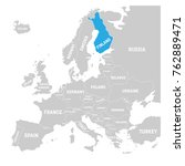finland marked by blue in grey...   Shutterstock .eps vector #762889471