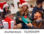 group of cheerful friends... | Shutterstock . vector #762904399