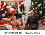 group of friends laughing and... | Shutterstock . vector #762904411