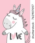 unicorn illustration with hand... | Shutterstock .eps vector #762907057