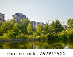condo buildings view from the... | Shutterstock . vector #762912925