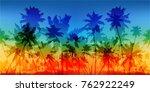 rainbow colors palms... | Shutterstock .eps vector #762922249
