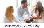 business colleagues working... | Shutterstock . vector #762924559