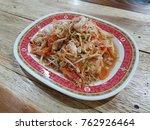fresh shrimp in white plate on... | Shutterstock . vector #762926464