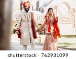indian groom dressed in white... | Shutterstock . vector #762931099