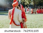 indian groom dressed in white... | Shutterstock . vector #762931105