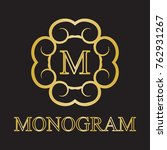 vintage monogram frame template....   Shutterstock . vector #762931267