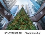 tall decorated christmas tree... | Shutterstock . vector #762936169
