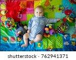 happy three months old baby boy ... | Shutterstock . vector #762941371