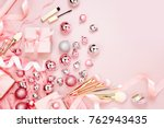 flat lay holiday background... | Shutterstock . vector #762943435