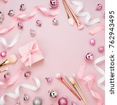 frame with christmas ball  gift ... | Shutterstock . vector #762943495