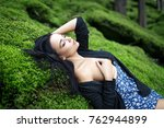 beautiful young naked girl on a ... | Shutterstock . vector #762944899