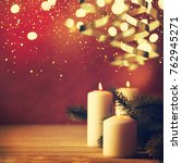 christmas candles and ornaments ... | Shutterstock . vector #762945271